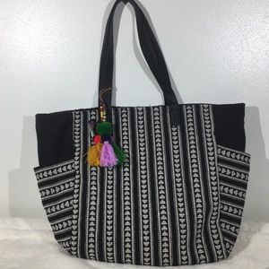 Large Woven Tote Bag with tassel